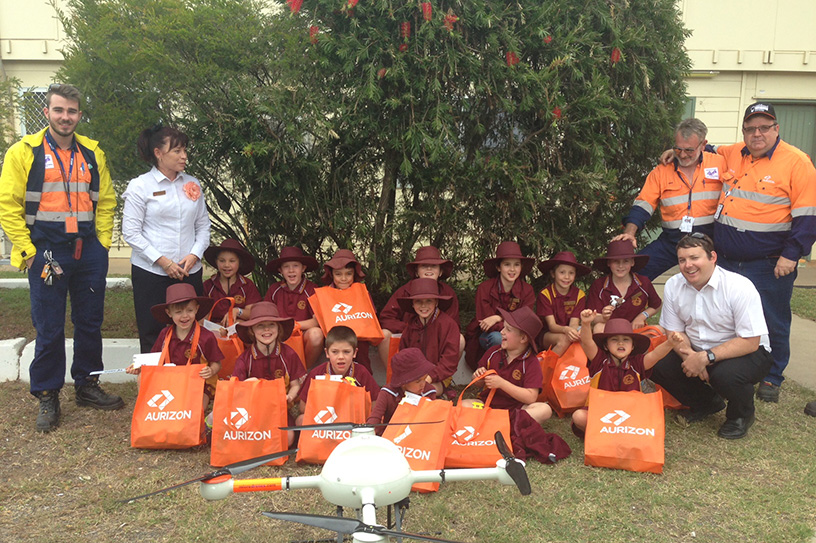 Coppabella State School students with drone